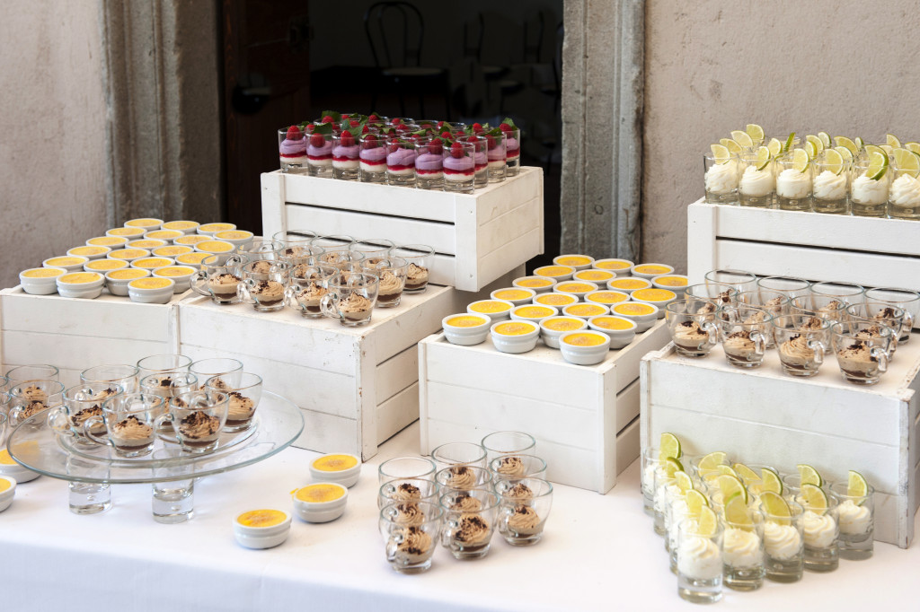 Selection of decorative desserts on a buffet table