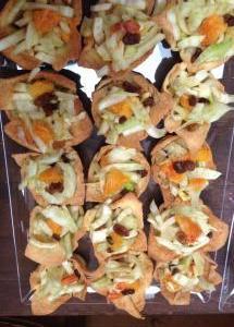cestini di pasta alla ricotta con insalata di finocchi e arance